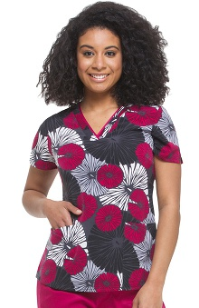 Premiere by Healing Hands Women's Amanda V-Neck Floral Print Scrub Top