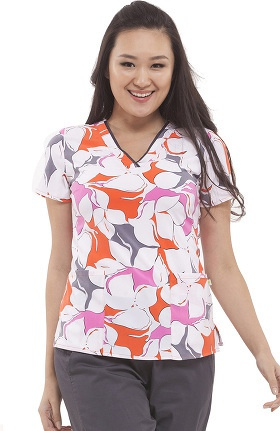 Clearance Premiere By Healing Hands Women's Amanda V-Neck Floral Print Scrub Top