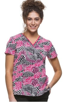 Premiere by Healing Hands Women's Amanda V-Neck Geometric Print Scrub Top
