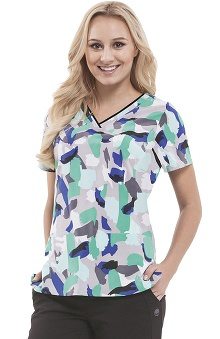 Premiere By Healing Hands Women's Amanda V-Neck Abstract Print Scrub Top