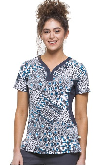 Premiere by Healing Hands Women's Jessi Y-Neck Side Panel Geometric Print Scrub Top