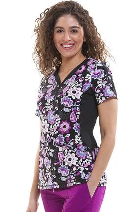 Premiere by Healing Hands Women's Jessi Y-Neck Side Panel Floral Print Scrub Top