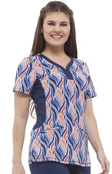 Premiere By Healing Hands Women's Jessi Y-Neck Side Panel Abstract Print Scrub Top