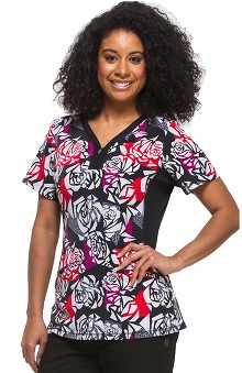 Premiere by Healing Hands Women's Jessi Y-Neck Floral Print Scrub Top