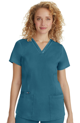 Purple Label Classic Fit By Healing Hands Women's Jasmine V-Neck Stretch Solid Scrub Top