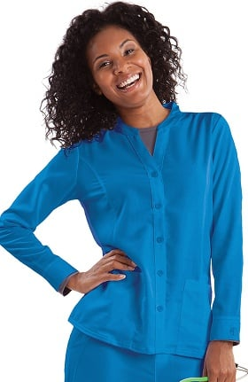 Purple Label Classic Fit by Healing Hands Women's Dana Button Front Scrub Jacket