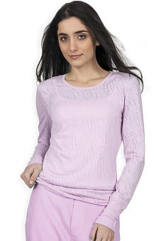 Clearance Purple Label Modern Fit by Healing Hands Women's Alisa Long Sleeve Burnout T-Shirt