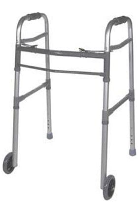 """Drive Medical Deluxe Adult Folding Walker Two Button With 5"""" Wheels 350lb Weight Capacity"""