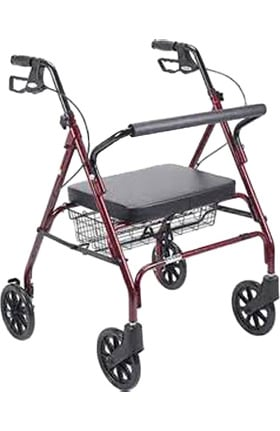 """Drive Medical Durable 4Wheel Rollator With Foldup Removable Back 8"""" Casters & Loop Locks"""