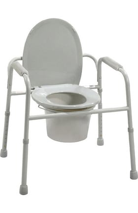 Drive Medical Deluxe All-In-One Welded Steel Commode With Plastic Armrests