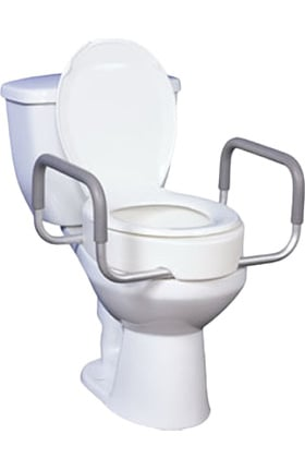 """Drive Medical Premium Raised Toilet Seat With Removable Arms 17"""" Seat"""