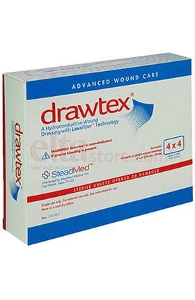 "Drawtex Hydro-Conductive Dressing with LevaFiber 4"" x 4"" Box of 10"