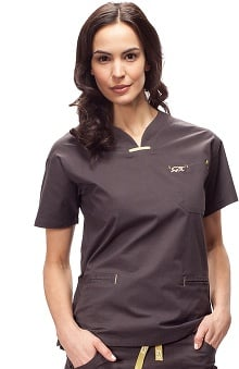 iguanamed: Medflex II By Iguanamed Women's Quattro V-Neck 3 Pocket Solid Scrub Top