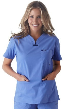 IguanaMed Women's Quattro Plus V-Neck 3 Pocket Solid Scrub Top