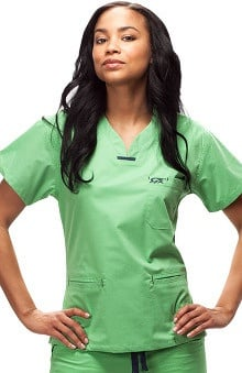 IguanaMed Women's Quattro V-Neck 3 Pocket Solid Scrub Top