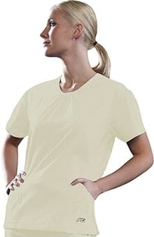 iguanamed: IguanaMed Women's Green Line V-Neck 2-Pocket Solid Scrub Top