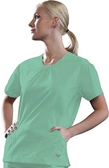 Clearance IguanaMed Women's Green Line V-Neck 2-Pocket Solid Scrub Top