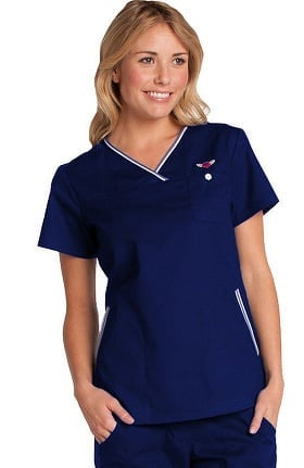 koi Classics Women's Ashley Crossover V-Neck Solid Scrub Top