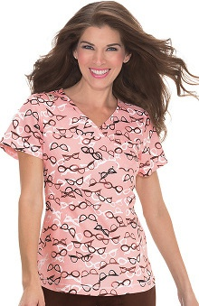 koi Prints Women's Ashley Crossover Perfume Bottle Print Scrub Top