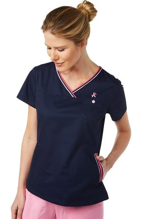 koi Classics Women's Ashley V-Neck Breast Cancer Awareness Solid Scrub Top