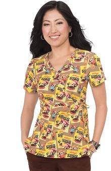 koi by Kellogg's® Women's Kathryn Mock Wrap Coco Pops Print Scrub Top