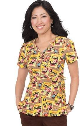 Clearance koi by Kellogg's® Women's Kathryn Mock Wrap Coco Pops Print Scrub Top