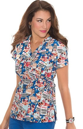 Clearance koi by Kellogg's® Women's Kathryn Mock Wrap Tony The Tiger Print Scrub Top