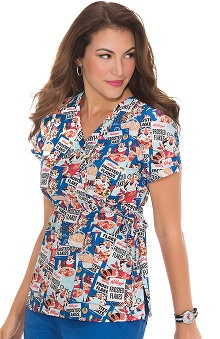 koi by Kellogg's® Women's Kathryn Mock Wrap Tony The Tiger Print Scrub Top