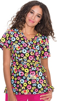 koi by Kellogg's® Women's Kathryn Mock Wrap Froot Loops Print Scrub Top