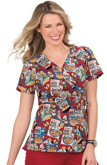 koi by Kellogg's® Women's Kathryn Mock Wrap Rice Krispies Print Scrub Top