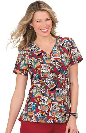 Clearance koi by Kellogg's® Women's Kathryn Mock Wrap Rice Krispies Print Scrub Top