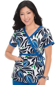koi Prints Women's Kathryn Mock Wrap Botanical Print Scrub Top