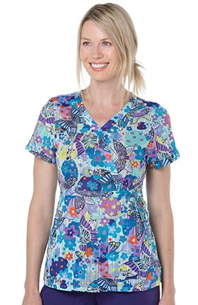 koi Prints Women's Kathryn Mock Wrap Butterfly Print Scrub Top