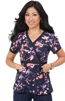 koi Prints Women's Kathryn Mock Wrap Abstract Print Scrub Top