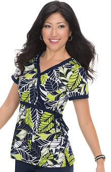 koi Prints Women's Kathryn Mock Wrap Leaf Print Scrub Top