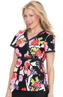 koi Women's Kathryn Floral Print Mock Wrap Scrub Top