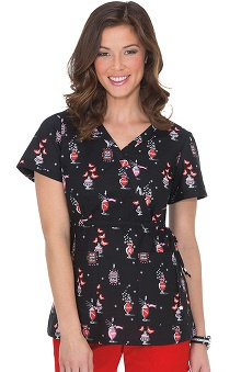 Clearance koi Women's Kathryn Witchy Print Mock Wrap Scrub Top