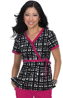 koi Women's Kathryn Plaid Print Mock Wrap Scrub Top