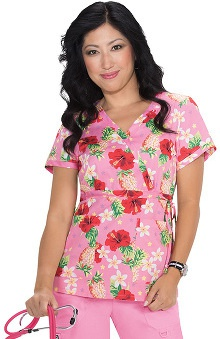 Koi Prints Women's Kathryn Mock Wrap Tropical Print Scrub Top
