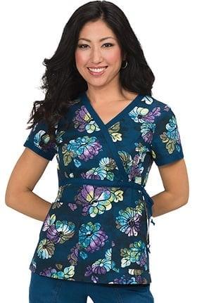 Clearance koi Prints Women's Kathryn Mock Wrap Floral Print Scrub Top