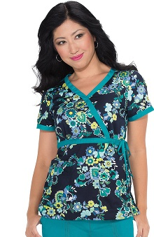 Koi Prints Women's Kathryn Mock Wrap Paisley Print Scrub Top