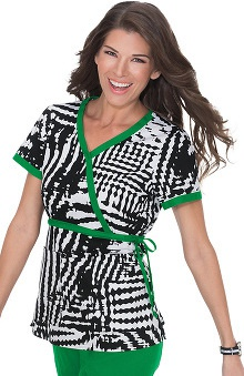 koi Women's Kathryn Wave Print Mock Wrap Scrub Top