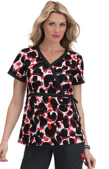 koi Women's Kathryn Spicy Camo Print Wrap Scrub Top