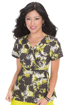 koi Prints Women's Kathryn Mock Wrap Animal Print Scrub Top