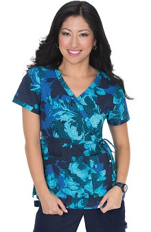 koi Women's Kathryn Rose Print Mock Wrap Scrub Top