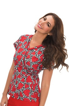 koi Prints Women's Kathryn Mock Wrap Heart Print Scrub Top