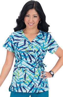 Clearance koi Women's Kathryn Tropical Batik Print Wrap Scrub Top