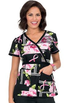 koi Prints Women's Kathryn Mock Wrap Floral Print Scrub Top