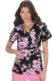koi Women's Kathryn Ribbon Print Mock Wrap Scrub Top