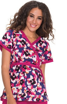 Koi Prints Women's Kathryn Mock Wrap Floral Print Scrub Top